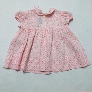 5/$25 Vintage Saks Fifth Ave rose baby dress 12 M